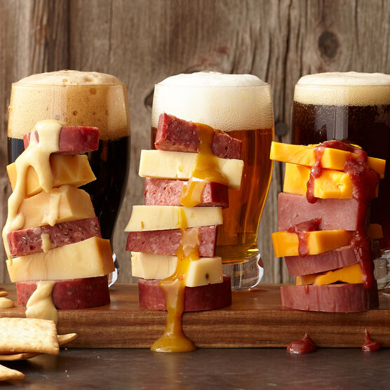 Summer sausage, cheese, and mustard stack