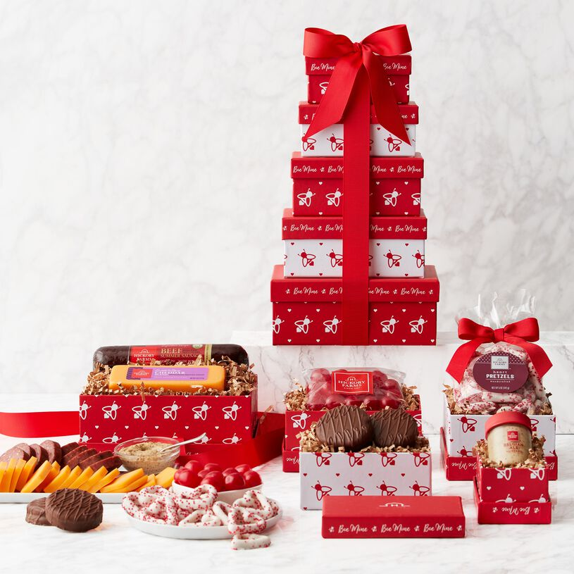 Valentine's Day Sweet & Savory Gift Tower - Tower and Contents