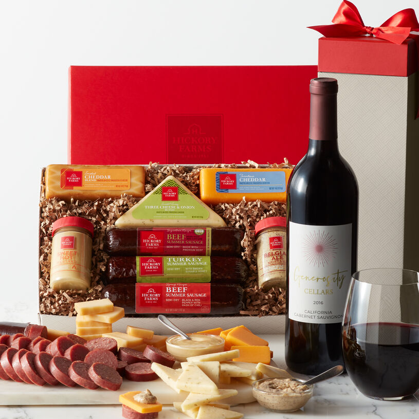 Hearty Bites Cabernet Gift Box includes sausage, cheese, mustard, and Cabernet Sauvignon