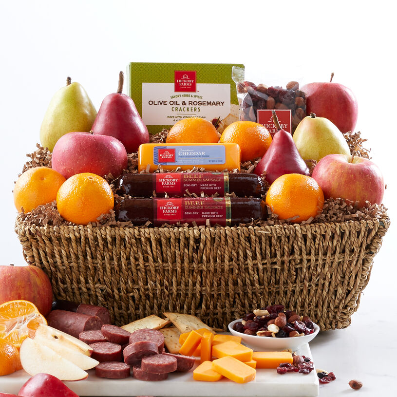 Orchards Bounty Gift Basket includes sausage, cheese, mixed nuts, crackers, and fruit