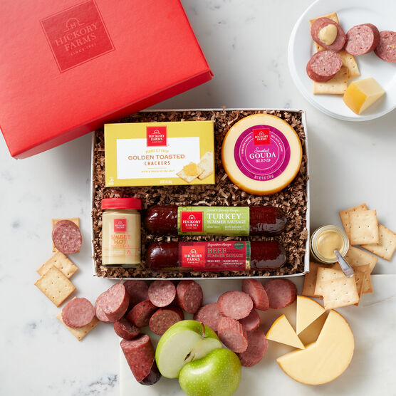 Hickory Farms Classic Beef & Turkey Sampler includes summer sausage, mustard, cheese, and crackers