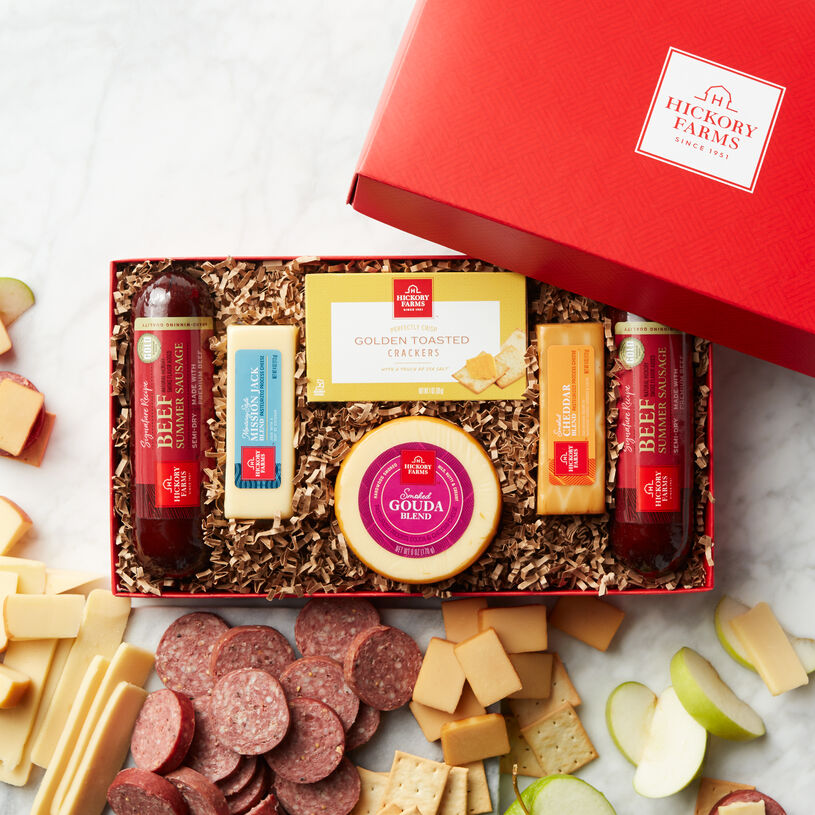 Blend, Mission Jack Blend, and Smoked Cheddar Blend cheeses all pair perfectly with our Signature Beef Summer Sausage in this gift box.