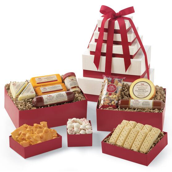 Grand Snack Gift Tower includes beef & turkey summer sausage, various cheeses, spreads, mints, and nuts