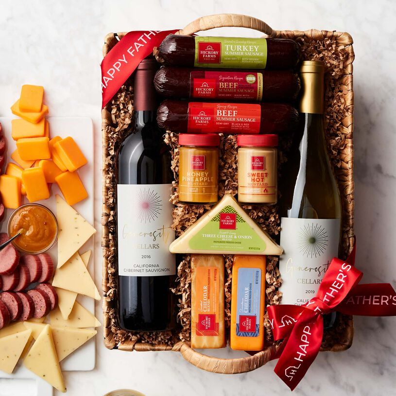 Father's Day Hearty Bites & Wine Gift Basket