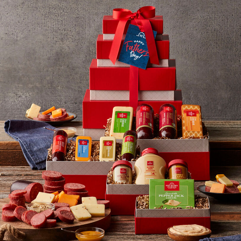 Father's Day Gourmet Meat & Cheese Tower - Displayed gift tower. Tan boxes, red lids and decorative red ribbon.
