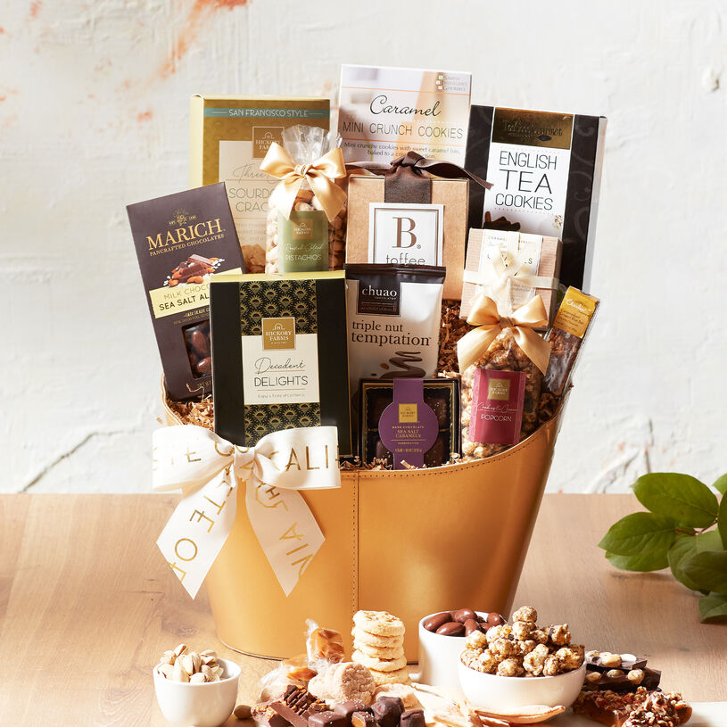 This gift basket is filled with gourmet Golden State favorites like nuts, sweets, and indulgent chocolates.