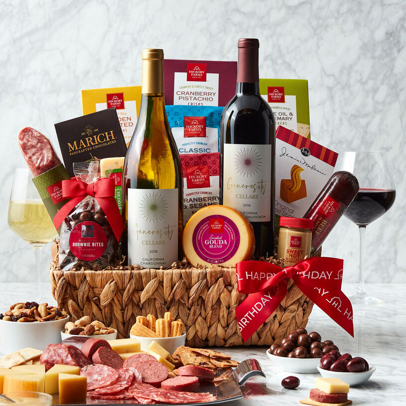 This generous birthday gift basket is overflowing with sweet and savory flavors to create plenty of delicious bites.