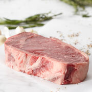 Center Cut Prime 16 oz. Bone-in New York Strip Steak. Ships frozen & raw