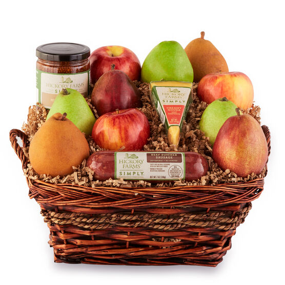 Simply Harvest Fruit Basket includes all natural sausage, cheese, mustard, and fruit