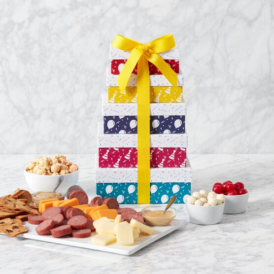 Premium Happy Birthday Gift Tower Charcuterie Spread