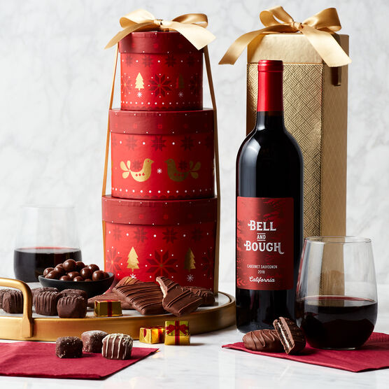 Alternate view of Chocolate Indulgence Holiday Gift Tower with Wine