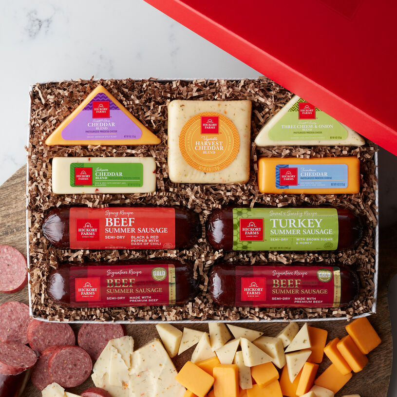 Cheese Sausage Lovers Box includes summer sausage, various cheese, and crackers