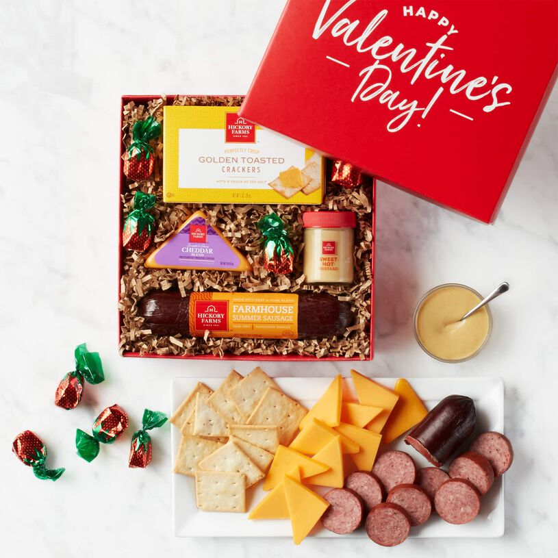 Valentine's Day Bold & Tangy Snack Sampler Box and Contents