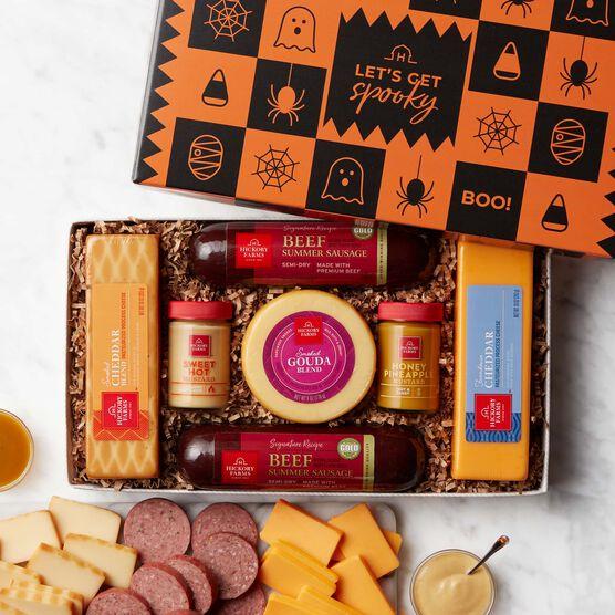 Halloween Summer Sausage & Cheese Gift Box Light Background