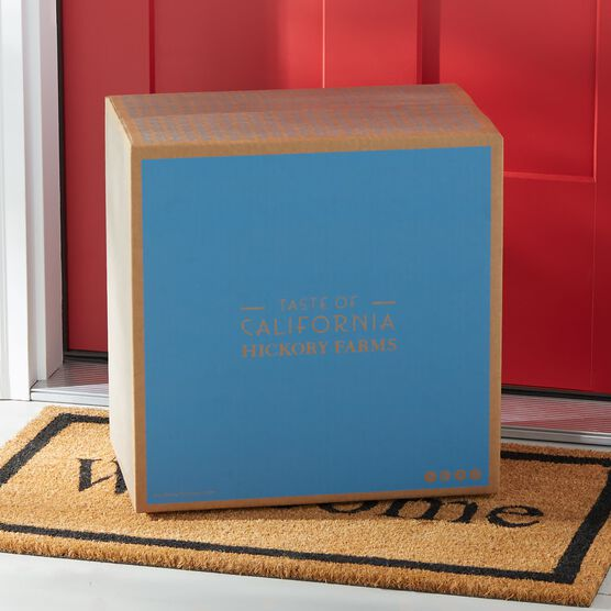 Light Blue Hickory Farms and Taste of California Branded Shipping Box