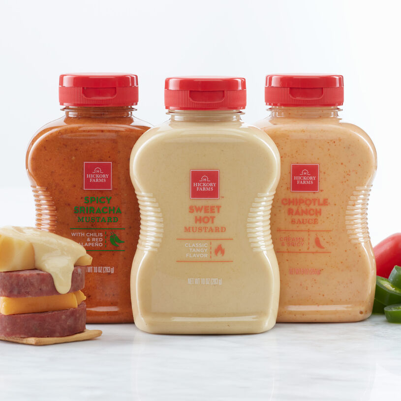 Chipotle Ranch Sauce, Sweet Hot Mustard, and Spicy Sriracha Mustard are all creamy, savory, and spicy condiments that make a great addition to any meat and cheese spread, sandwich, or snack!