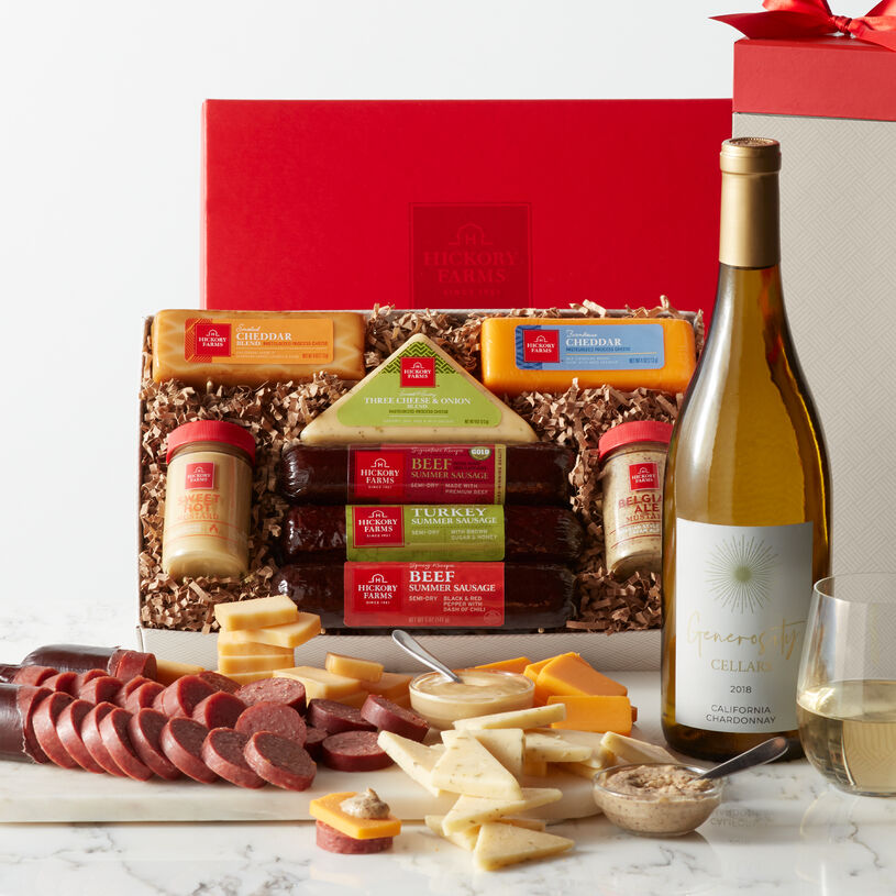 Three delectable varieties of Hickory Farms Summer Sausage, three creamy cheeses, mustard, and crackers make this gift box a perfect choice for the savory snack lover on your list.