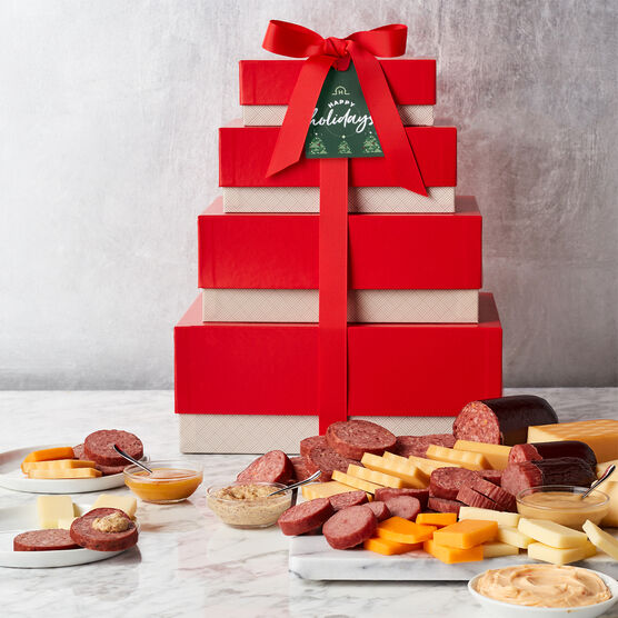 Alternate view of Happy Holidays Gourmet Meat & Cheese Gift Tower