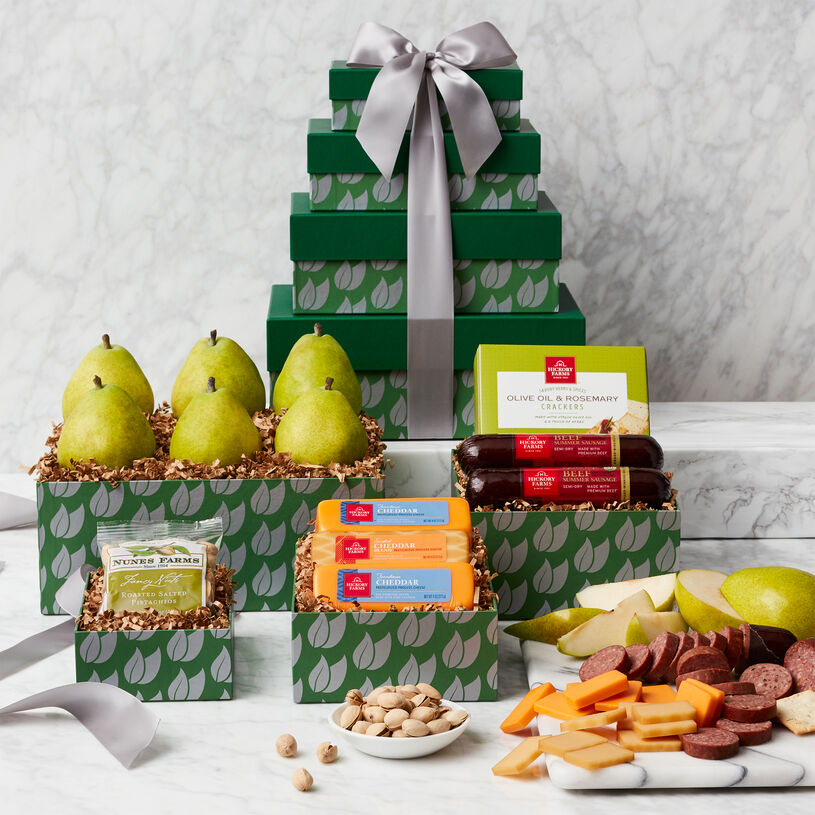 Fruit and Snack Gift Tower includes sausage, cheese, crackers, mixed nuts, and pears