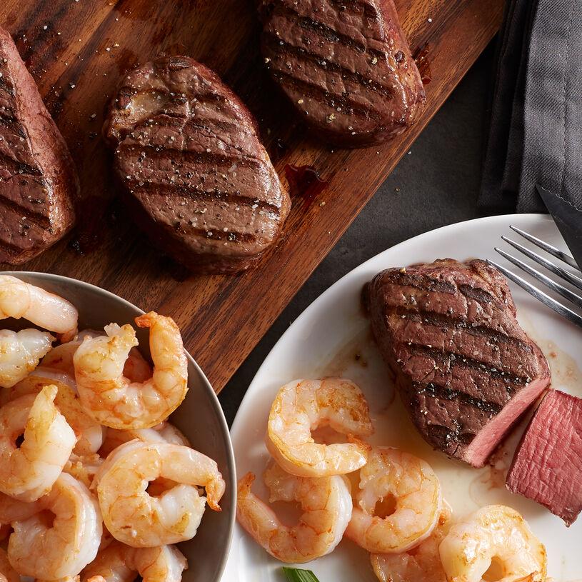 Our Shrimp & Filet feast includes perfect aged filet mignon with sweet, succulent shrimp