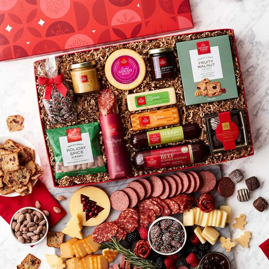 Season's Eatings Charcuterie & Chocolate Gift Box Contents and Charcuterie