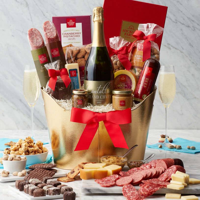 Commemorate special occasions, memorable moments, and big celebrations with this sparkling wine gift basket that's big enough to share! I