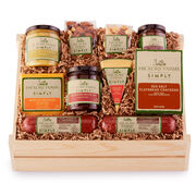 simply savory deluxe gift crate includes various sausage, cheese, nuts, crackers, and spreads