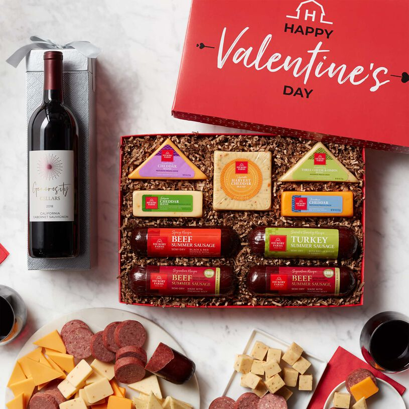 Valentine's Day Cheese & Sausage Lover's Gift Box with Wine - Lid and Contents