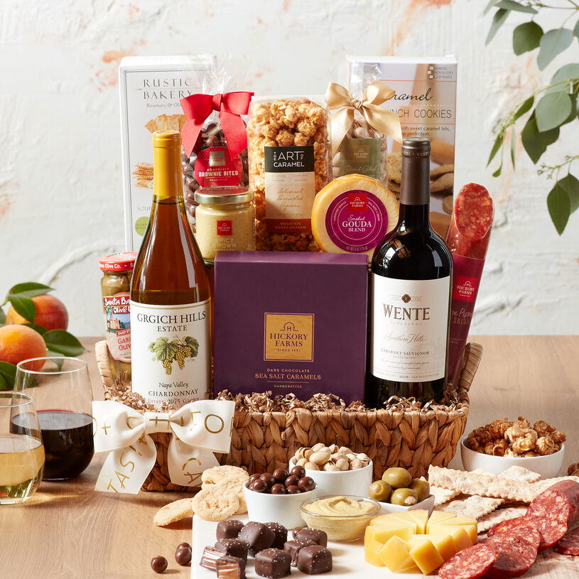 This wine gift basket is a trip through California's best vineyards and is filled with sweet & savory bites.