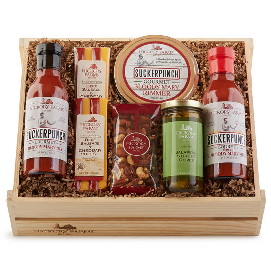This crate features a mix for a Traditional or Spicy Bloody Mary, and seasoning salt for the rim of the glass. Serve alongside the meat & cheese sticks, Cajun Jalapeño Olives, and seasoned mixed nuts for a high-flavor experience!