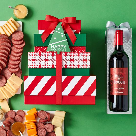 Holiday Gourmet Meat & Cheese Gift Tower with Wine Green Background