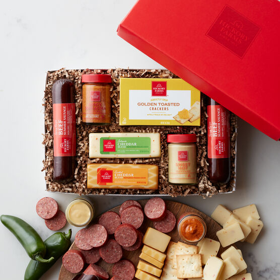 Hot & Spicy Gift Box includes summer sausage, mustard, cheese, and crackers