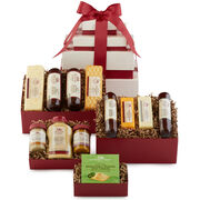 his savory gift starts with an assortment of Hickory Farms classics, Signature Beef Summer Sausage and cheeses. Next is a box of bold flavors like Turkey and Spicy Summer Sausages, Horseradish Cheese, and Farmhouse Cheddar, and spreadable cheese.