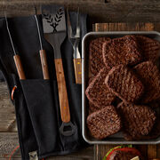 The perfect gift for the burger-loving Dad, this gift set includes twelve of our tender and juicy Prime Burger patties, plus sturdy tools he'll love getting his hands on. Tool Set includes tongs, fork, and spatula with bottle openers.