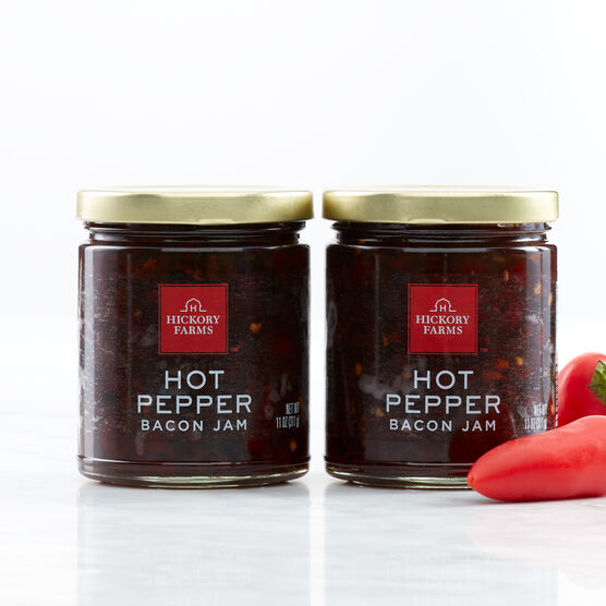 Our Hot Pepper Bacon Jam has just the right amount of spice with roasted red pepper puree, jalapeño peppers, and REAL bacon.