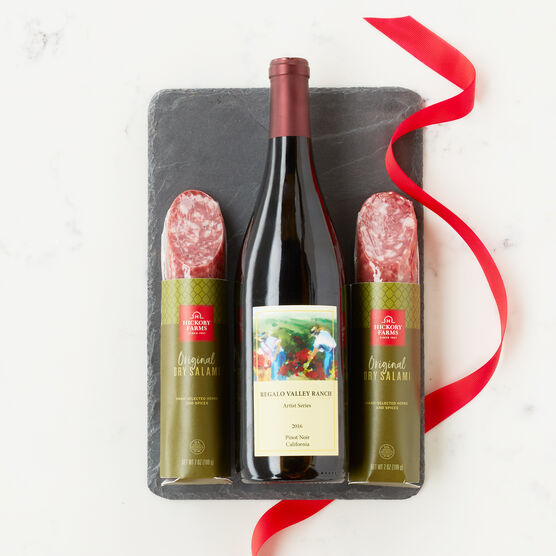 Gift set includes Hickory Farms Dry Salami and Wine