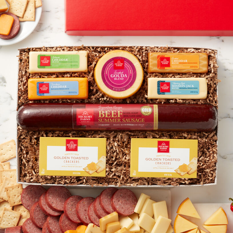 Our selection of favorite cheeses meets a party-size portion of our famous Signature Beef Summer Sausage in a meat and cheese gift that's the perfect addition to any celebration!