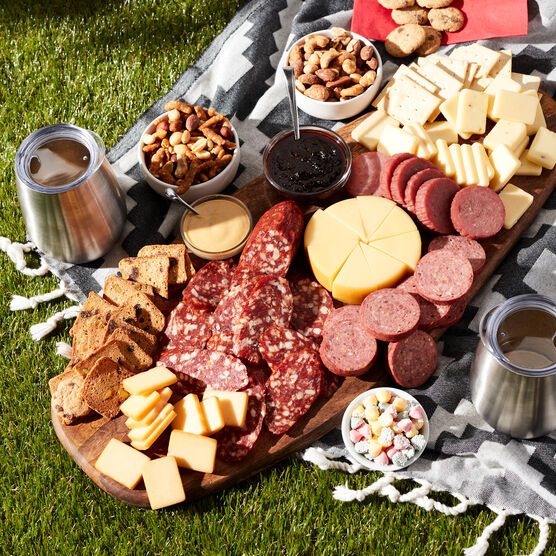 Deluxe Gourmet Picnic Gift Basket -  Outdoor Charcuterie Spread