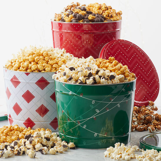 Our finest popcorn selections beautifully packed in a festive tin.
