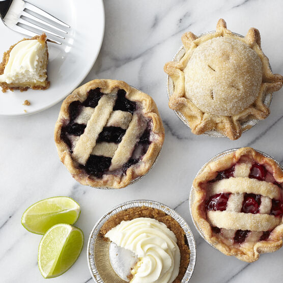 Keylime, blueberry, cherry, and apple mini pies