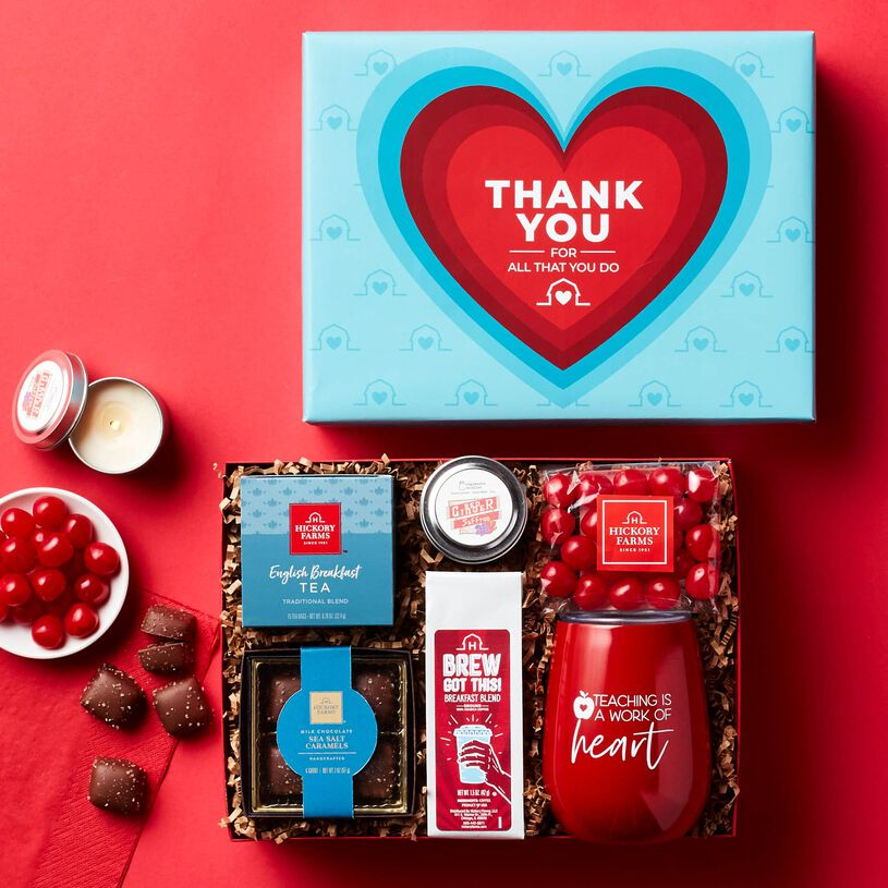 A+ Teacher Thank You Gift Box Box Contents on Red Background