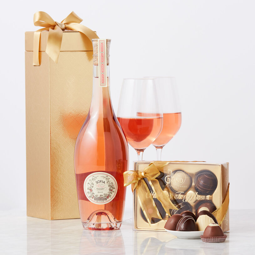 This decadent gift set features delicious Le Grand Truffles perfectly paired with renowned Sofia Rosé from California's Francis Ford Coppola vineyards.