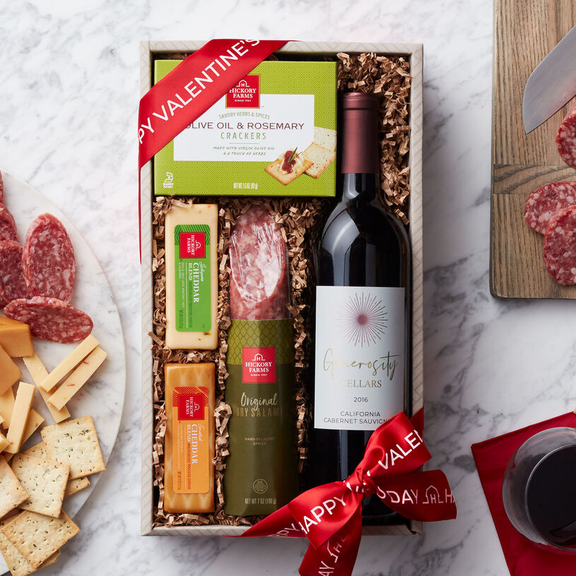 This Valentine's Day gift is filled with dry salami, cheddar cheese, crackers, and Generosity Cellars California Cabernet Sauvignon