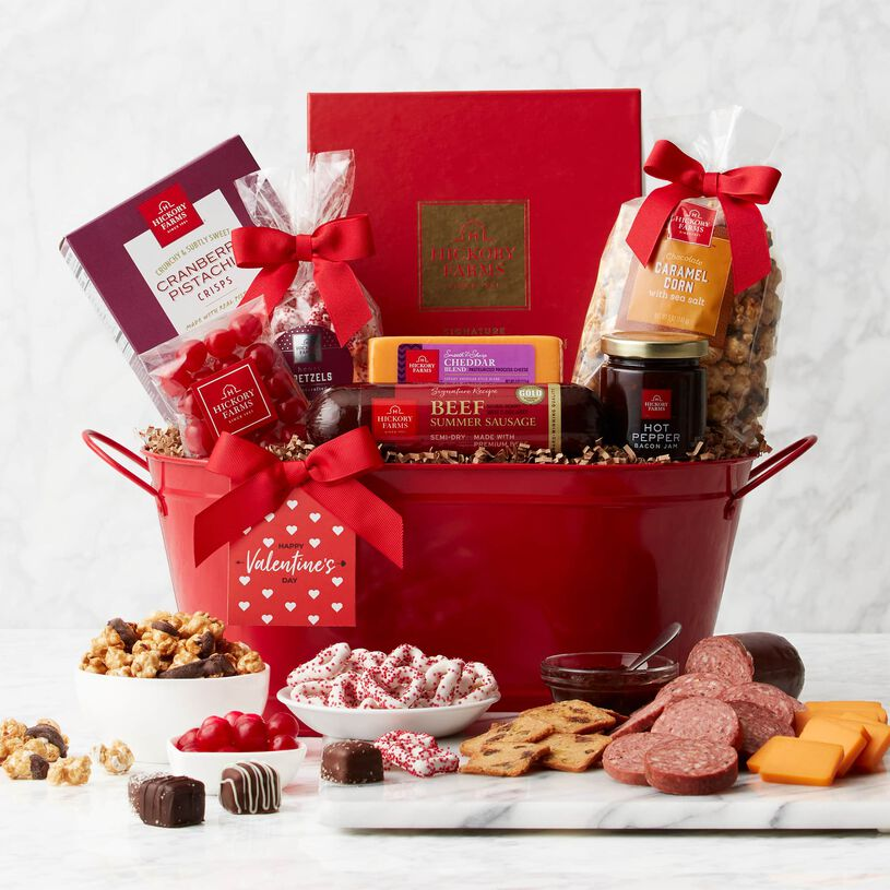 Deluxe Valentine's Day Gift Basket - Basket View