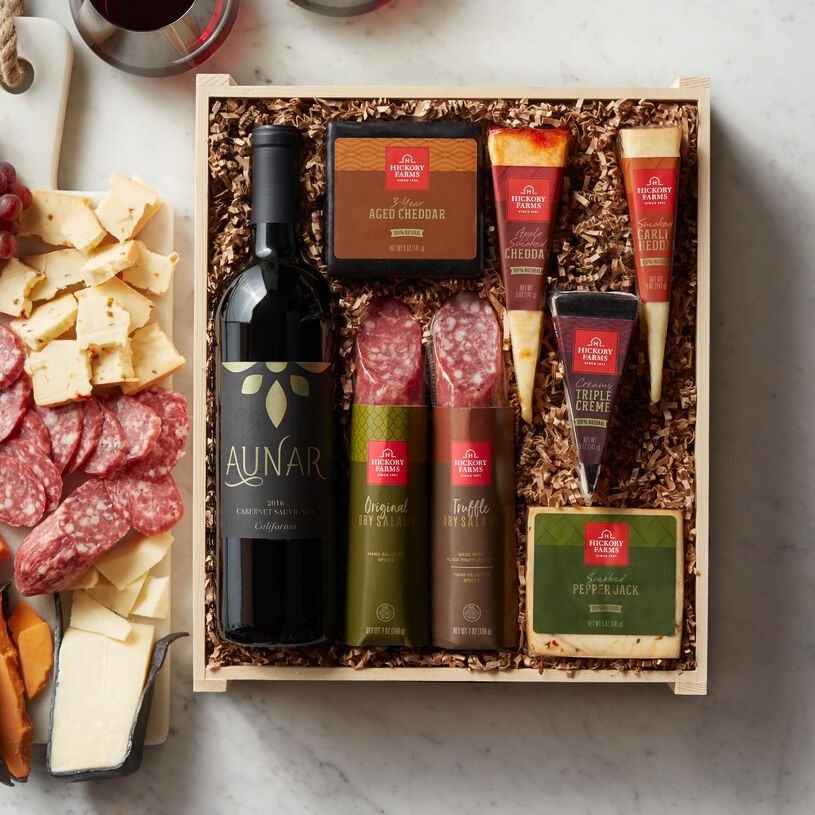 Our Dry Salami and Three Pepper Salami are paired with five different artisan cheeses and hand-packed with a bottle of Aunar California Cabernet Sauvignon