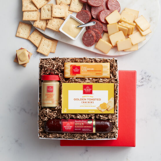 Hickory Farms' Signature Beef Sampler Gift Box includes summer sausage, cheese, and crackers.