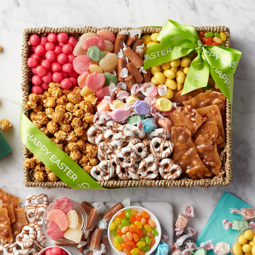 This Easter Sweets Gift Basket is filled to the brim with unique snacks to delight a special someone's sweet tooth.