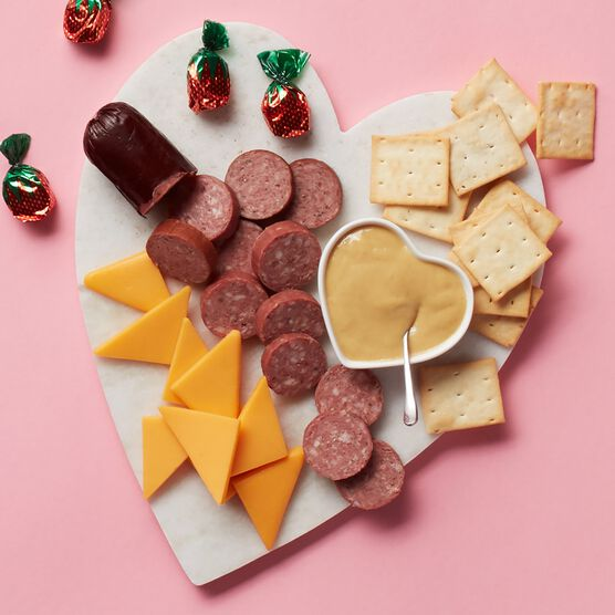 Valentine's Day Bold & Tangy Snack Sampler Charcuterie Spread