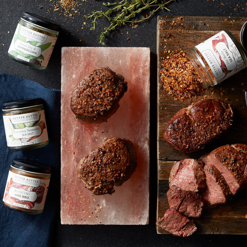 You can prepare his best meal yet with our restaurant-quality 6 oz Filet Mignon, Salt Block, and Sutter Buttes seasonings.