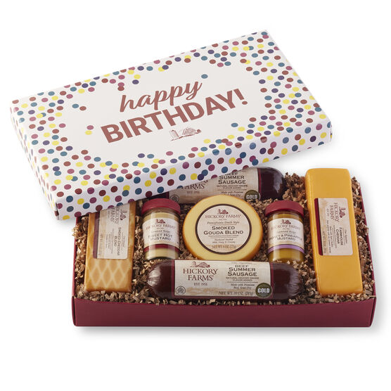 Beef summer sausage and cheese gift box with colorful confetti lid